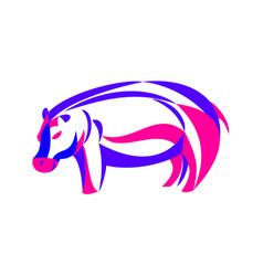 Hippopotamus ribbon art vector