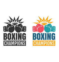 intage logo for boxing with glove vector image