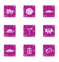international shipping icons set grunge style vector image