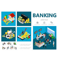 isometric bank infographic concept vector image