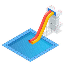 Isometric colourful water slide and tubes vector