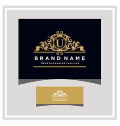 Letter u logo design concept royal luxury gold vector