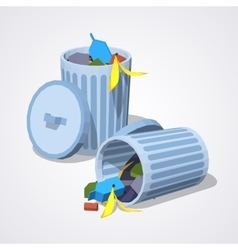 Low poly full trash can vector image