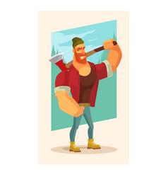 lumberjack man mascot character hold axe vector image