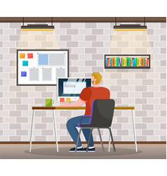 Man work on computer board with notes and tasks vector