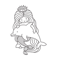 mermaid with long beautiful hair sitting on a vector image