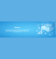 Mission concept business horizontal banner with vector