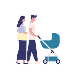 mother and father with baby carriage flat vector image