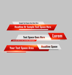 News style lower third red banners set vector