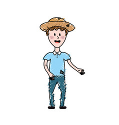 Nice man with hat and casual clothes vector