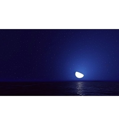 Night sky with ocean moon stars background vector