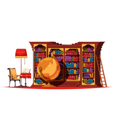 Old library bookcase composition vector