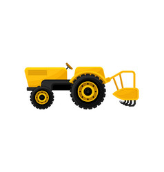Open yellow tractor with tine ripper or plough vector
