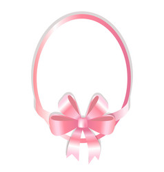 oval frame decorated pink bow vector image