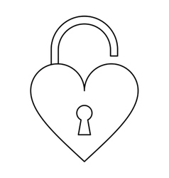 padlock open shaped heart loved outline vector image