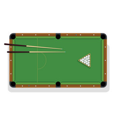 Pool table cue and billiard balls for game vector