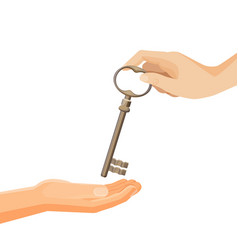 process of passing keys from hand to hand vector image