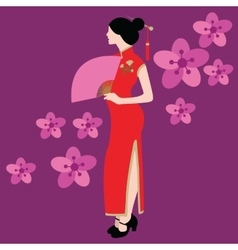 Qipao chinese traditional dress costume clothes vector
