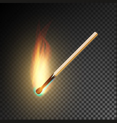 realistic burning match burning match on vector image