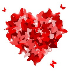 Red heart with butterflies for Valentines day Love vector
