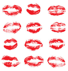 Red lipstick kisses vector
