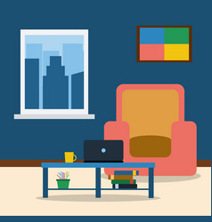 room interior with armchairpicture laptop and vector image