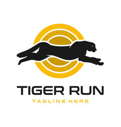 run tiger animal logo design vector image