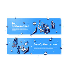 seo performance and optimization isometric banner vector image