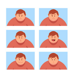 Set a man with a variety of emotions vector