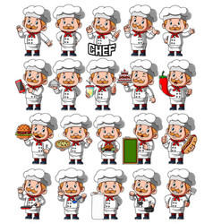 Set chef person with different poses vector