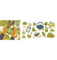 set different tasty matcha food flat vector image