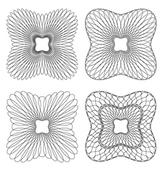 Set of 4 rounded square guilloche pattern vector