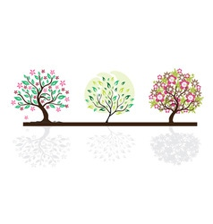 set of abstract trees vector image