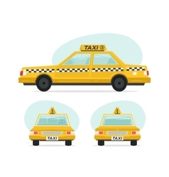 Set of cartoon yellow taxi car Isolated objects vector image