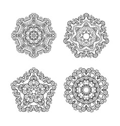 set of circular patterns vector image