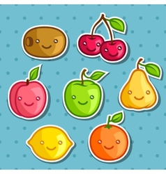 Set of cute kawaii smiling fruits stickers vector