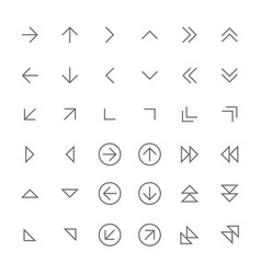 set of simple thin arrow icons vector image