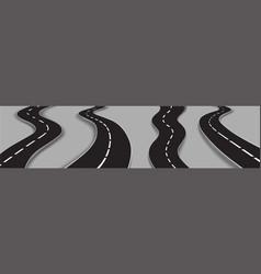 set winding roads curved car highways vector image
