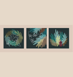 set with collage modern posters with abstract vector image