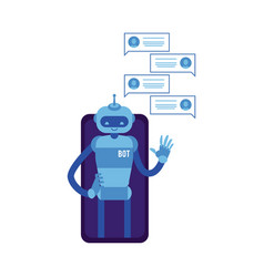 smiling chat bot waving hand phone screen vector image