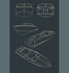 Speed boat blueprints vector