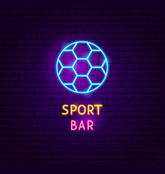 sport bar neon label vector image