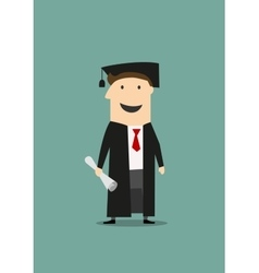 Student in graduation gown and hat with diploma vector