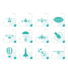 Stylized different types of aircraft vector
