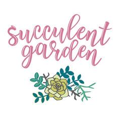 Succulent garden lettering vector