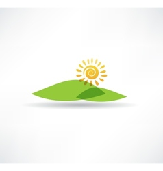 Sun and mountains icon vector image
