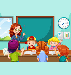 Teacher teaching students in the classroom scene vector