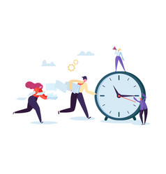 Time management concept flat characters business vector