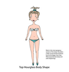 Top hourglass female body shape sketch hand drawn vector