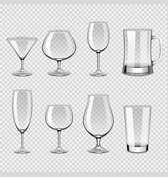 transparent drink glasses icons photo realistic vector image